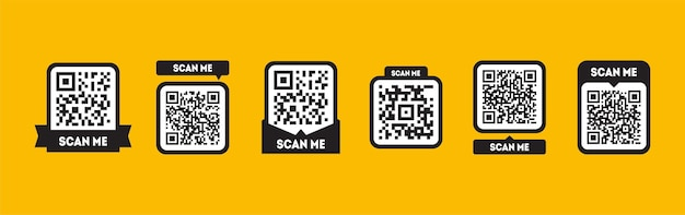 노란색 배경에 격리된 모바일 앱용 qr 코드 qrcode 아이콘으로 설정된 태그 스캔