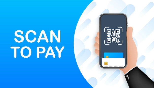 Scan to pay. smartphone to scan qr code on paper for detail, technology and business concept