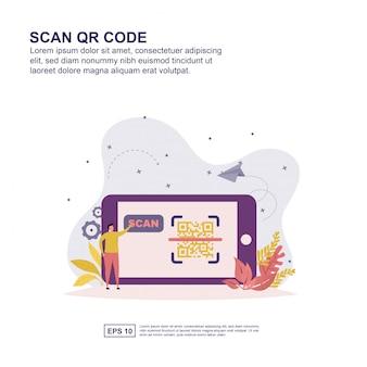 Scan qr code concept