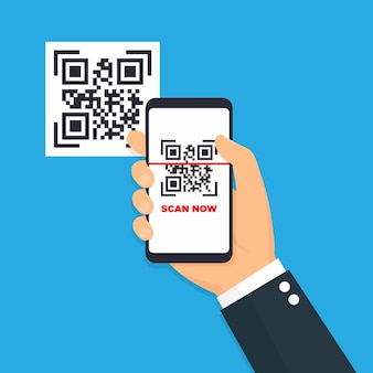 Scan qr code flat icon with phone. barcode.  illustration.