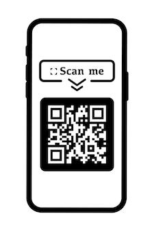 결제를 위해 qr 코드를 스캔하세요. 비문은 스마트폰 아이콘으로 나를 스캔합니다. 웹 및 모바일 시스템 인터페이스용 앱. qr 코드 스캔. 벡터 일러스트 레이 션