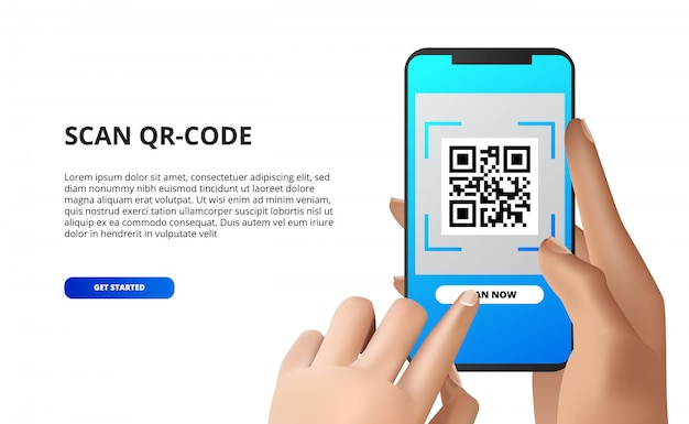 携帯電話からqrコードをスキャンします。タッチボタンでスマートフォンを持っている手。モバイル決済、アプリケーションのダウンロード、