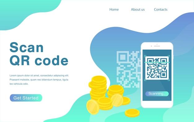 Сканирование шаблона целевой страницы qr-кода смартфон и сканирование qr-кода для оплаты