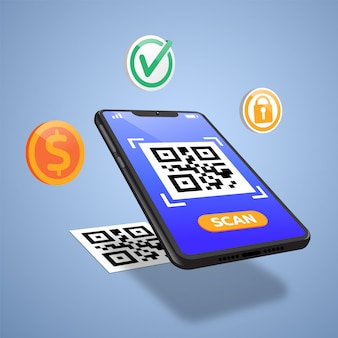 Scan qr code to mobile phone. electronic , digital technology, barcode. vector illustration