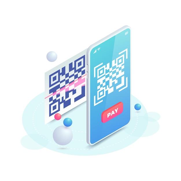 스마트 폰 화면에서 qr 코드를 스캔하세요. 바코드 개념 스캔, qr 지불 아이소 메트릭 그림. 전자 지불 영수증을 통한 온라인 비접촉 지불. 디지털 휴대폰 무 현금 결제.