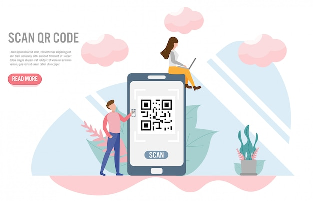 Scan qr code. payment concepts with character