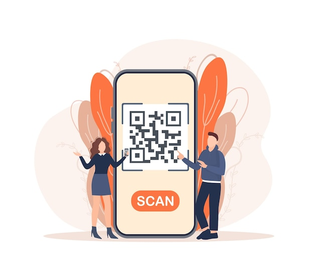 Scan qr code people great design for any purposes 3d vector background