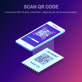 Scan qr code to phone. 3d isometric smartphone, mobile barcode reader, scanner with pay receipt. electronic digital payment with smartphone.