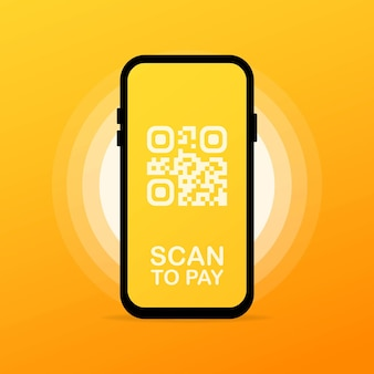 Scan qr code to phone or mobile barcode reader, scanner. electronic digital payment with smartphone.