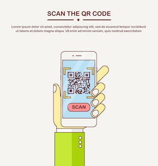 Scan qr code to phone. mobile barcode reader, scanner in hand. electronic digital payment with smartphone