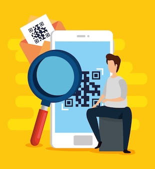 Scan qr code in smartphone with man