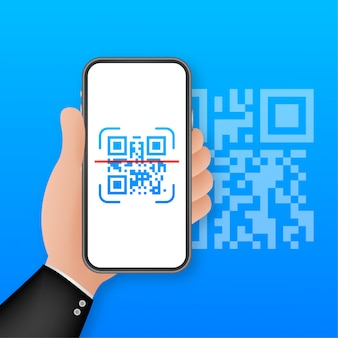 Сканируйте qr-код на мобильный телефон. электронные, цифровые технологии, штрих-код. иллюстрации.