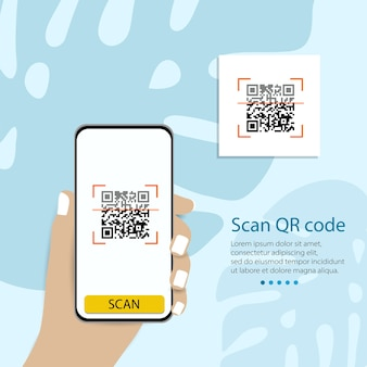Qr 코드를 휴대폰으로 스캔합니다. 전자, 디지털 기술, 바코드. 벡터 일러스트 레이 션.