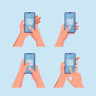 Qr코드를 휴대폰으로 스캔하세요. 인간의 손에 전화 세트입니다. 전자, 디지털 기술, 바코드 개념