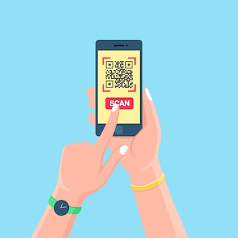 Qr 코드를 전화로 스캔하십시오. 모바일 바코드 리더, 손에 스캐너. 스마트 폰으로 전자 디지털 결제.