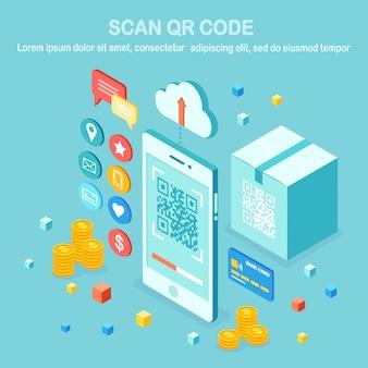 携帯電話にqrコードをスキャンします。モバイルバーコードリーダー、段ボール箱付きスキャナー、クラウド、クレジットバンクカード、お金。スマートフォンでの電子デジタル決済。等尺性デバイス。