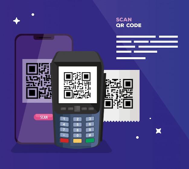 データ電話とスマートフォンのイラストでqrコードをスキャン