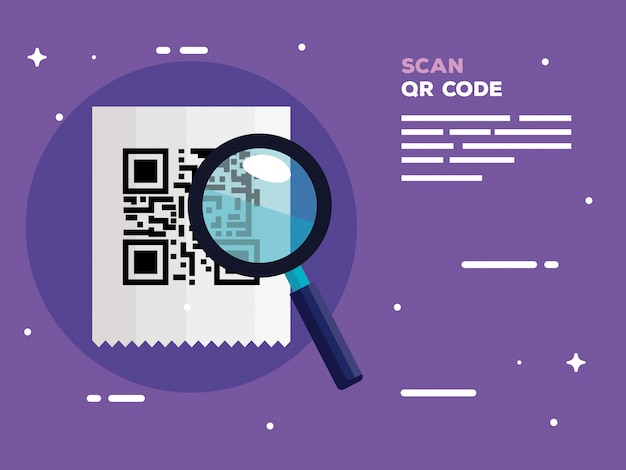 Scan qr code with magnifying glass