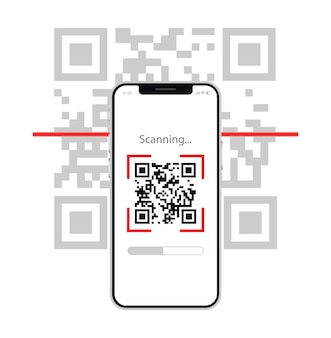Scan qr code with mobile phone electronic  digital technology barcode
