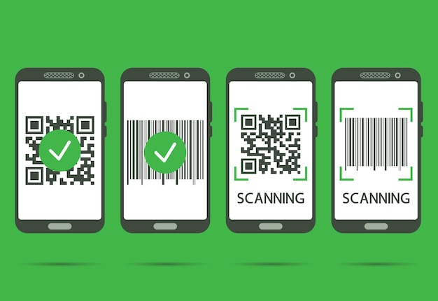 Scan qr code with mobile phone. qr code scans completed. machine-readable barcode on smartphone screen. verification or payment concept. vector illustration isolated on green background