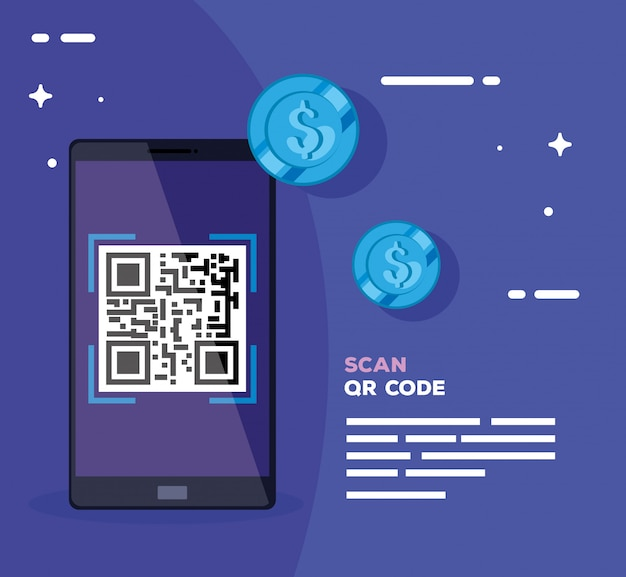 Scan qr code with smartphone and coins