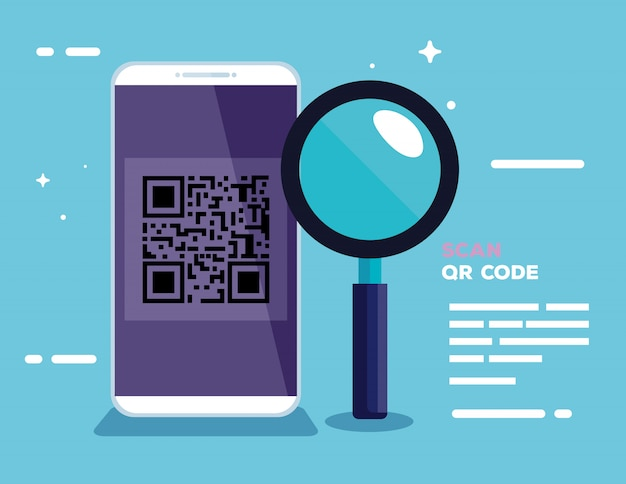 Scan qr code with smartphone and magnifying glass