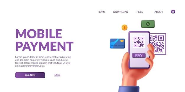 Сканирование qr для онлайн-платежей безналичных нетронутых действий с 3d милой рукой, держащей телефон со значком денежной карты