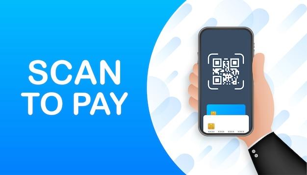 지불하려면 스캔하십시오. 세부 사항, 기술 및 비즈니스 개념을 위해 종이에 qr 코드를 스캔하는 스마트 폰