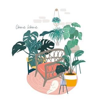 의자, 식물 및 잠자는 고양이가있는 스칸디 룸 인테리어, 손으로 그린 평면 그림