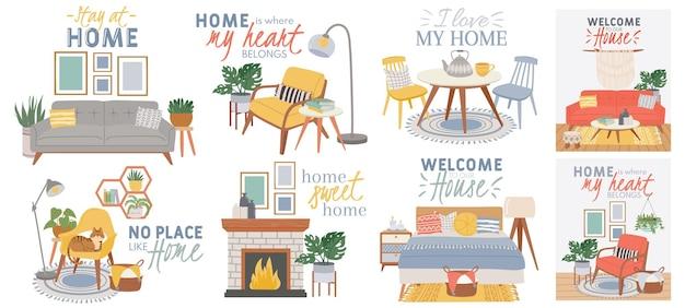 스칸딕 아늑한 인테리어. 안락의자, 식물, 고양이가 있는 휘게 스타일의 안락하게 꾸며진 거실과 침실. 현대 숙박 홈 벡터 포스터입니다. 집과 같은 곳이 아닌 집에 대한 인용문