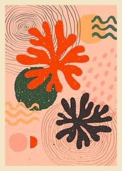 壁の装飾のための桃のピンク色のスカンジナビアの抽象的な有機組成物