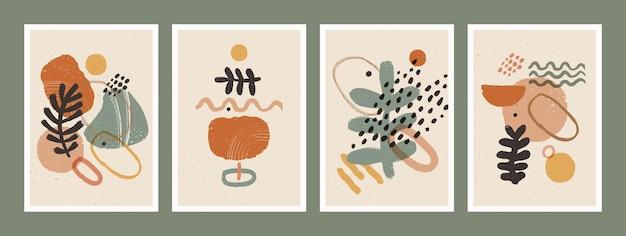 壁の装飾のための自然なアースカラーに設定されたスカンジナビアの抽象的な有機ポスター Premiumベクター