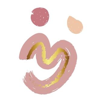 스칸디나비아 추상 모양 벽 예술 인쇄. 미니멀한 파우더리 핑크와 골드 웨이브 벽 아트 포스터. 보육원의 기하학적 모양. 벡터 일러스트 레이 션