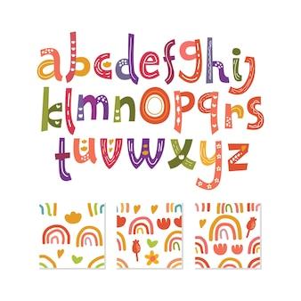 スカンジナビアのアルファベットとシームレスなパターンがかわいいファンタジーを設定します