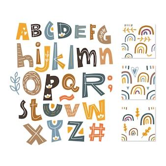 Скандинавский алфавит и бесшовный фон набор милый