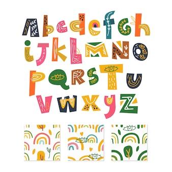 Скандинавский алфавит и бесшовный фон набор элементов