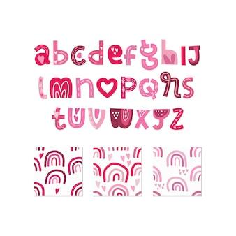 スカンジナビアのアルファベットとシームレスなパターンはロマンチックな要素を設定します