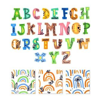 Скандинавский алфавит и бесшовный фон набор