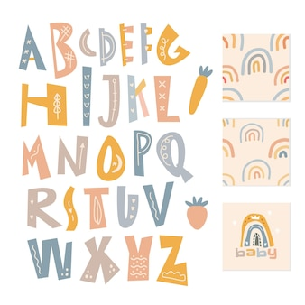 スカンジナビアのアルファベットとシームレスなパターンセット