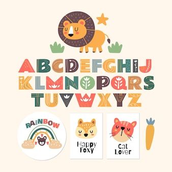 Scandinavian alphabet and cute fantasy clipart colorful collection isolated element Premium Vector