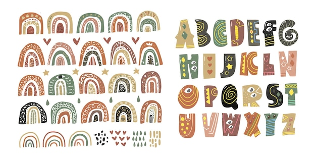 Scandinavian alphabet and rainbow set cute fantasy clipart black white collection isolated element