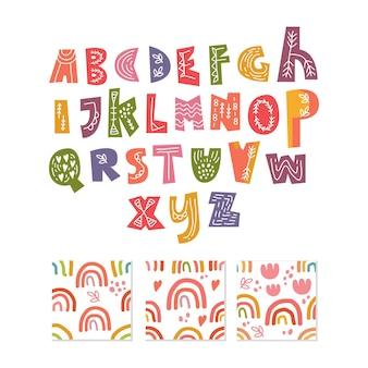 Scandinavian alphabet and seamless pattern set cute