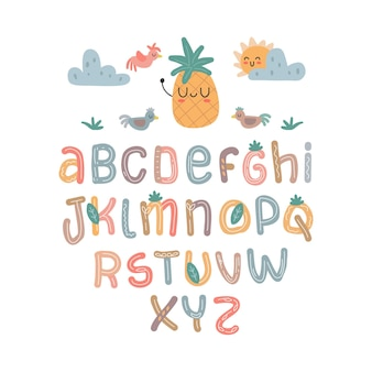 Scandinavian alphabet set cute fantasy and clipart colorful collection isolated el