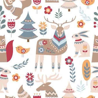 Scandinavian animal and floral seamless pattern
