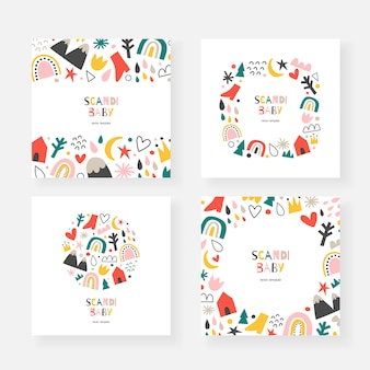 Scandinavian baby card templates with copy space, decorative frames with doodle illustrations