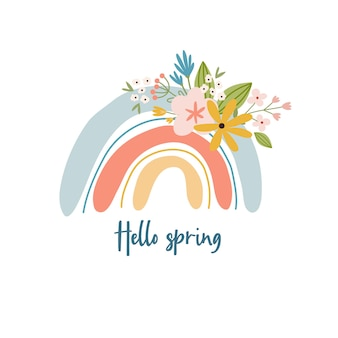 Scandinavian boho spring card with spring flowers, flowering branches, birds and butterflies. good for poster, card, invitation, flyer, banner, placard, brochure. vector illustration.