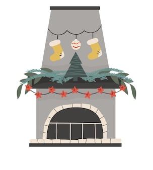 孤立したモミの木と花輪とスカンジナビアのクリスマス暖炉ぶら下げ靴下とお祝いの居心地の良い炉床。フラットスタイルのベクトル図。居心地の良い冬のホリデーシーズン。