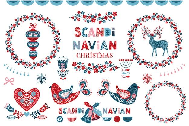 スカンジナビアのクリスマスフラワーリースコレクション