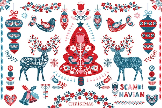 Scandinavian christmas folk art design elements