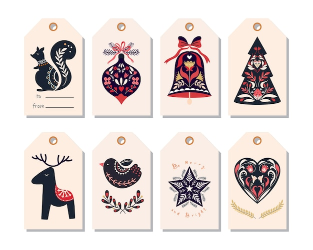 Scandinavian christmas tags with ornamental elements